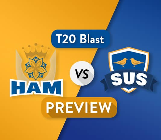 HAM vs SUS Dream11 Team Prediction and Probable XI: Preview   Chris Jordan added to squad