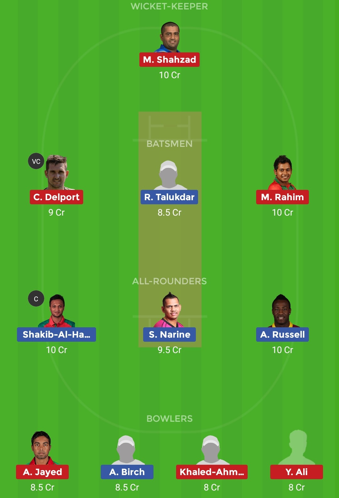 DHD vs CV Dream11 Team