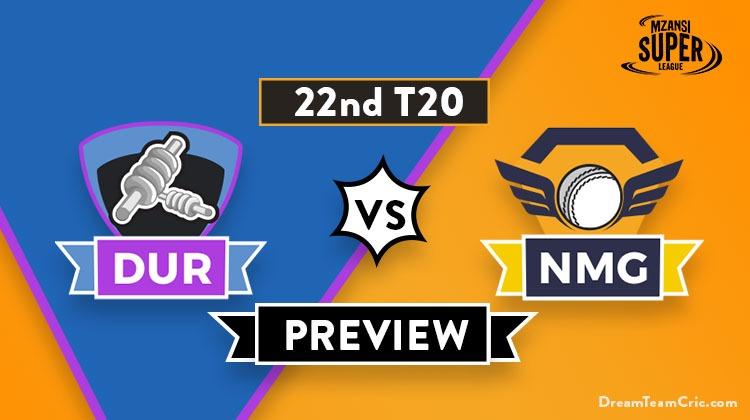 DUR vs NMG Dream11 Team,