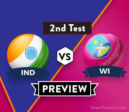 India vs West Indies match. We are covering IND vs WI 2nd Test Dream11 Team Prediction, Preview and Probable Playing XI for the Second Test match.