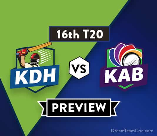 KDH vs KAB Dream 11 Team Prediction of Afghanistan Premier League: Preview