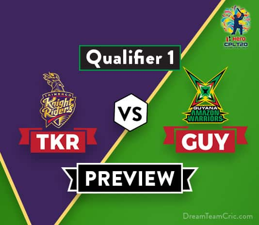 TKR vs GUY Dream11 Team Prediction and Probable XI: Preview  Qualifier One